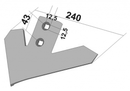 Chisel plow sweep for cultivator John Deere 240 mm made in boron steel Veles Agro
